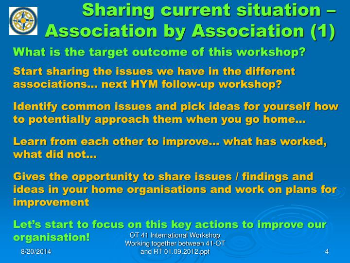 Sharing current situation – Association by Association (1)
