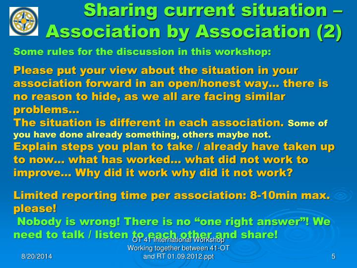 Sharing current situation – Association by Association (2)