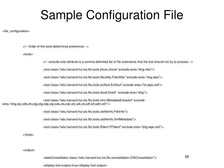 Sample Configuration File
