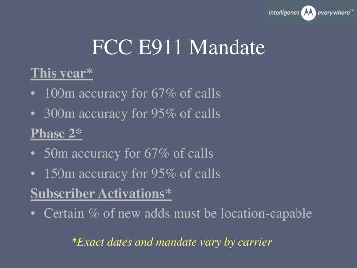 FCC E911 Mandate