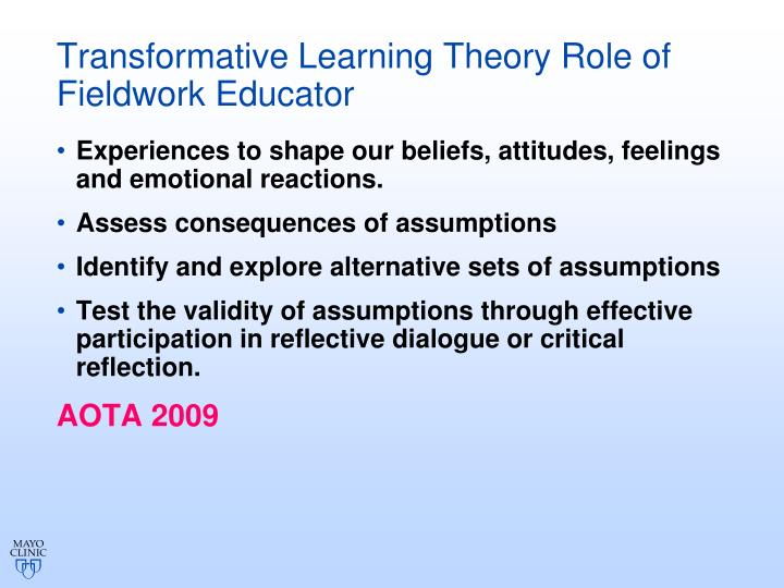 Transformative Learning Theory Role of Fieldwork Educator