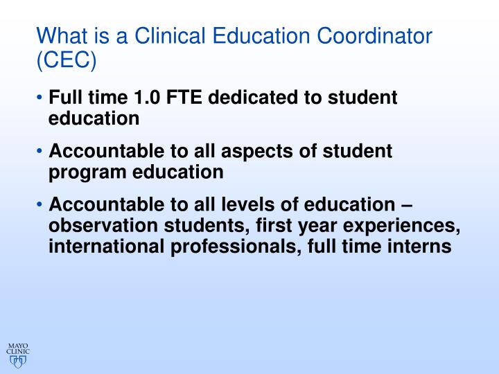 What is a Clinical Education Coordinator (CEC)