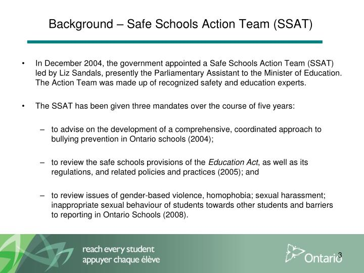 Background – Safe Schools Action Team (SSAT)