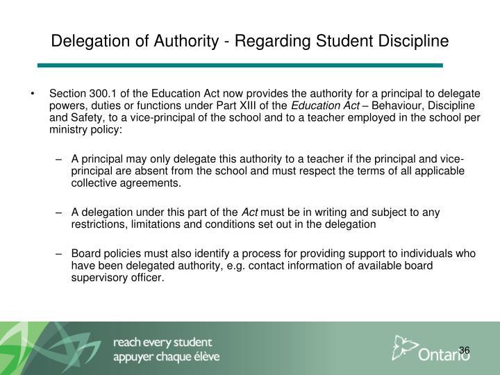 Delegation of Authority - Regarding Student Discipline