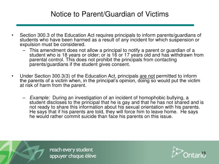 Notice to Parent/Guardian of Victims
