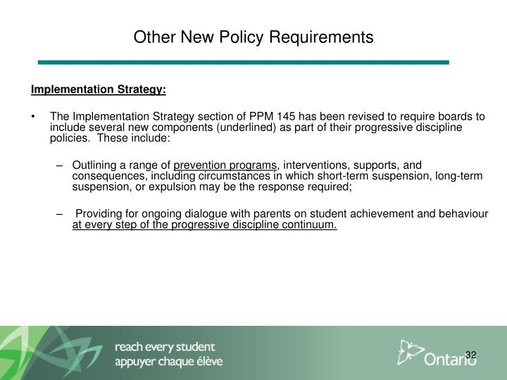 Other New Policy Requirements