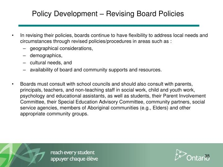 Policy Development – Revising Board Policies