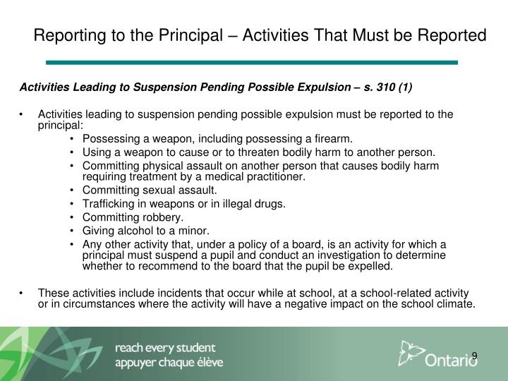 Reporting to the Principal – Activities That Must be Reported