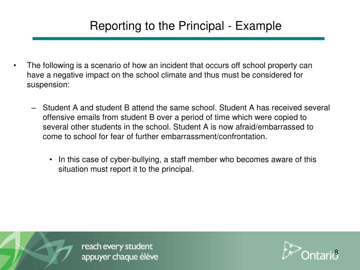 Reporting to the Principal - Example