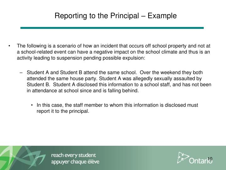 Reporting to the Principal – Example