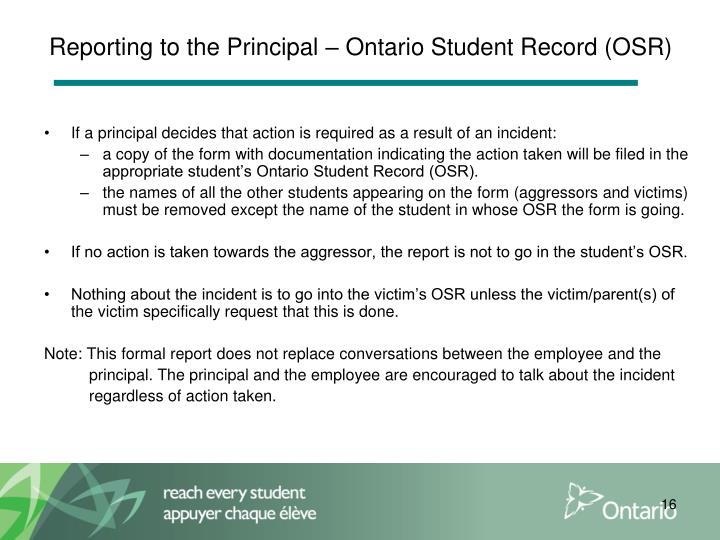 Reporting to the Principal – Ontario Student Record (OSR)