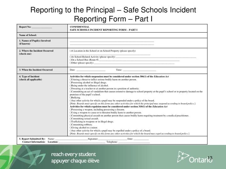 Reporting to the Principal – Safe Schools Incident Reporting Form – Part I