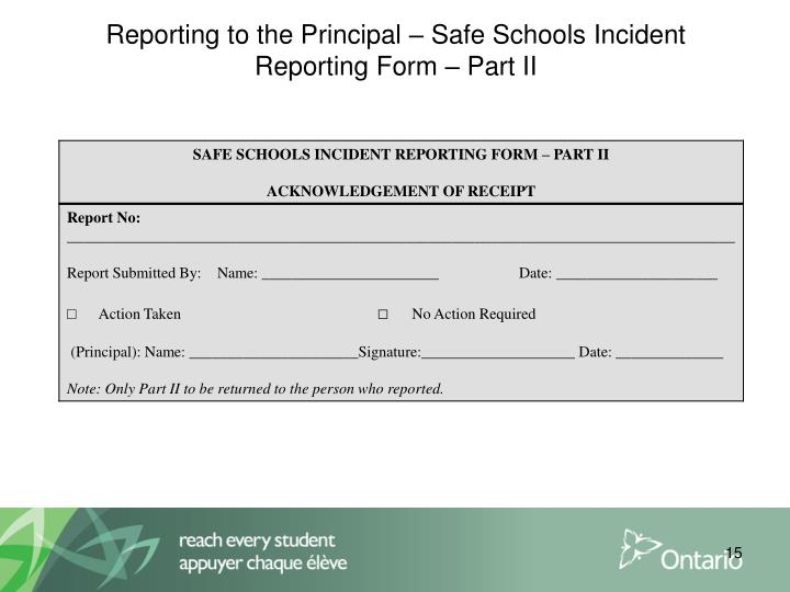 Reporting to the Principal – Safe Schools Incident Reporting Form – Part II