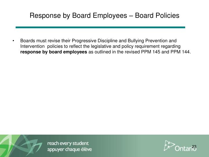 Response by Board Employees – Board Policies