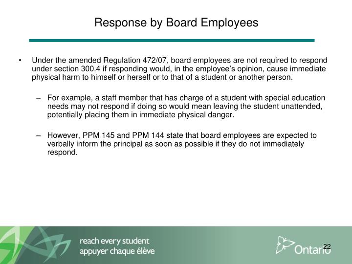 Response by Board Employees