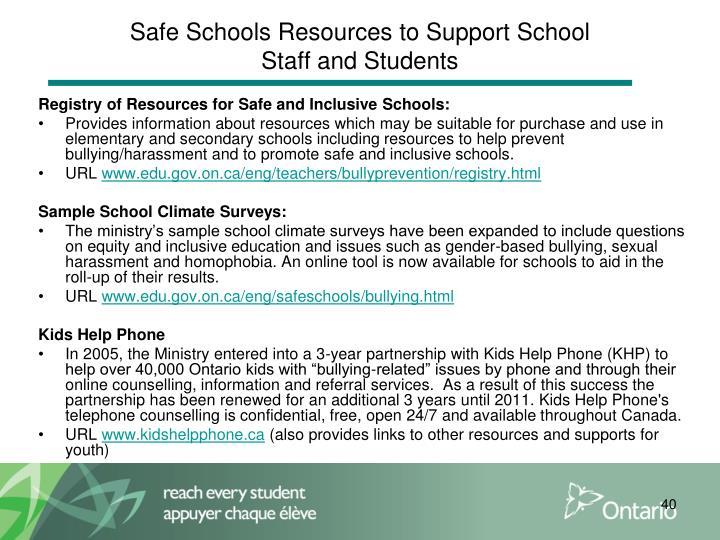 Safe Schools Resources to Support School