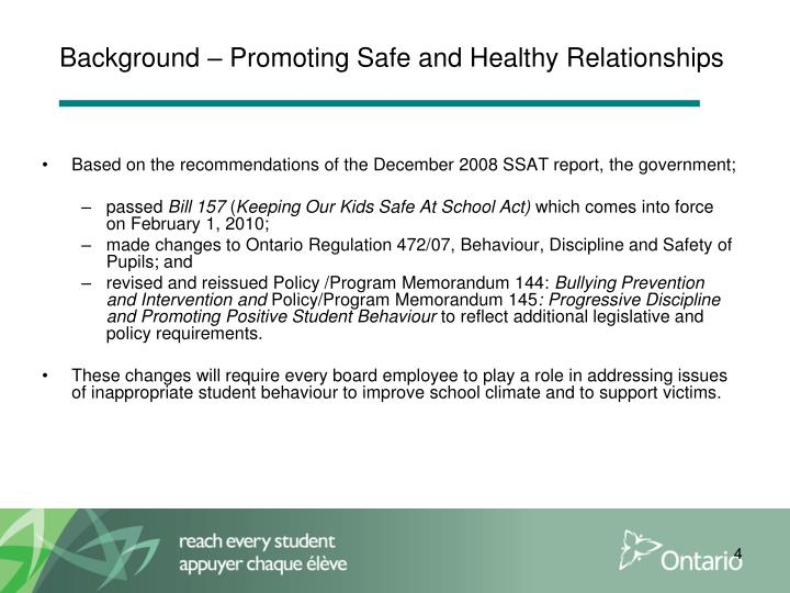 Background – Promoting Safe and Healthy Relationships