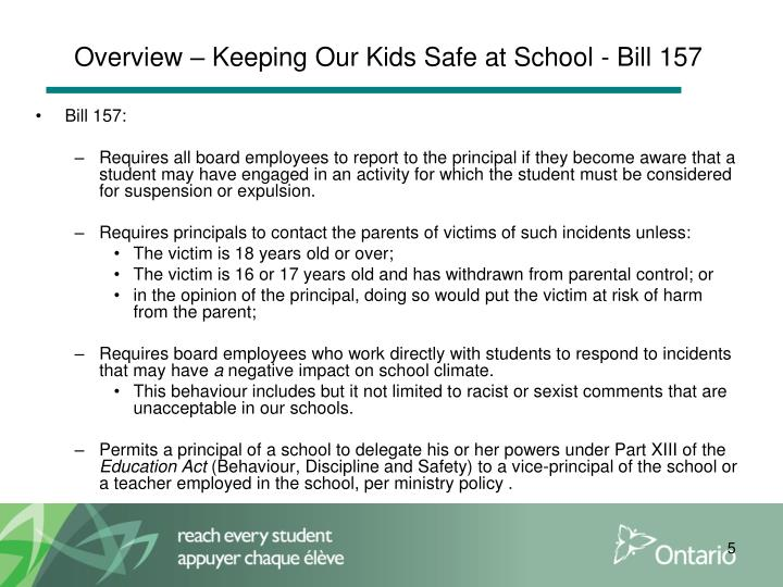 Overview – Keeping Our Kids Safe at School - Bill 157