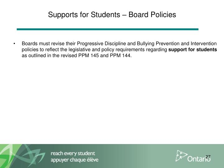 Supports for Students – Board Policies