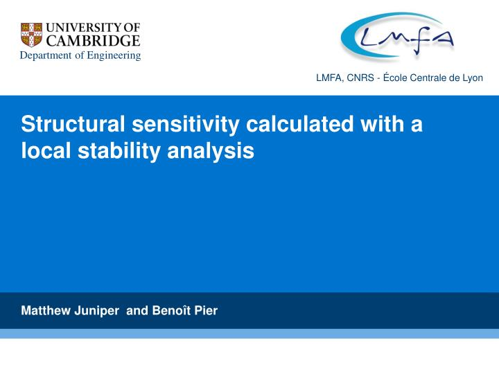 structural sensitivity calculated with a local stability analysis