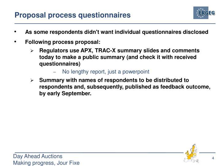 Proposal process questionnaires
