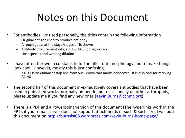Notes on this document