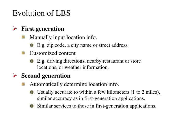 Evolution of lbs