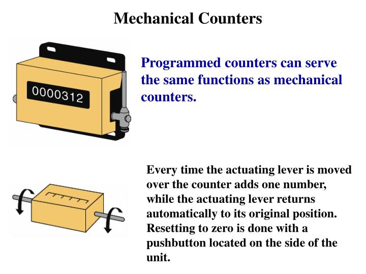 Every time the actuating lever is moved over the counter adds one number, while the actuating lever returns automatically to its original position. Resetting to zero is done with a pushbutton located on the side of the unit.