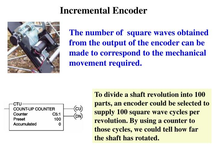 To divide a shaft revolution into 100 parts, an encoder could be selected to supply 100 square wave cycles per revolution. By using a counter to those cycles, we could tell how far the shaft has rotated.