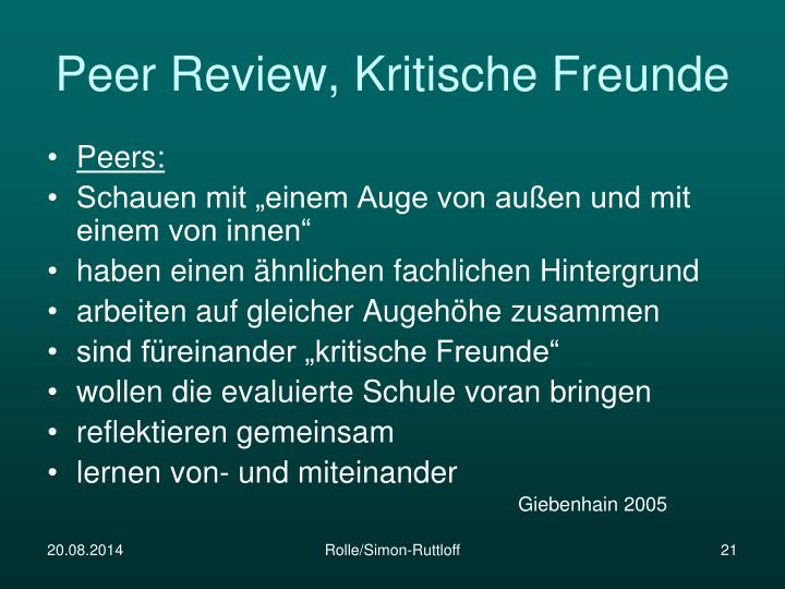 Peer Review, Kritische Freunde