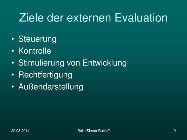 Ziele der externen Evaluation