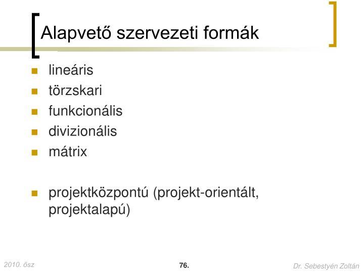 Alapvető szervezeti formák