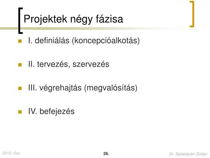 Projektek négy fázisa