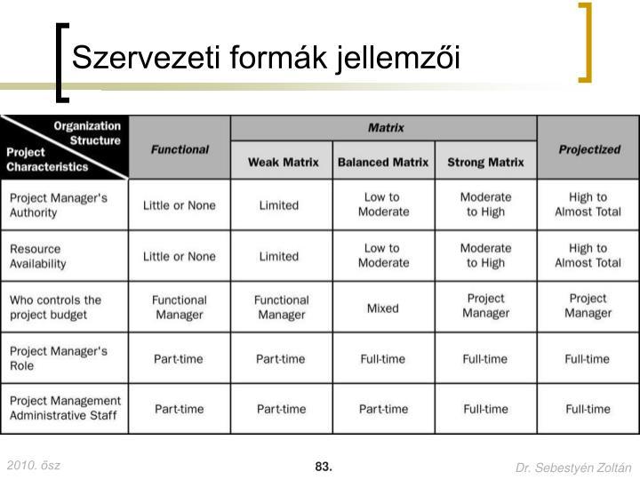 Szervezeti formák jellemzői