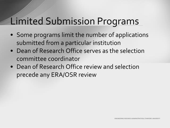Limited Submission Programs