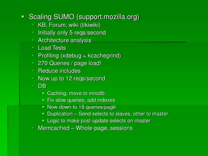 Scaling SUMO (support.mozilla.org)