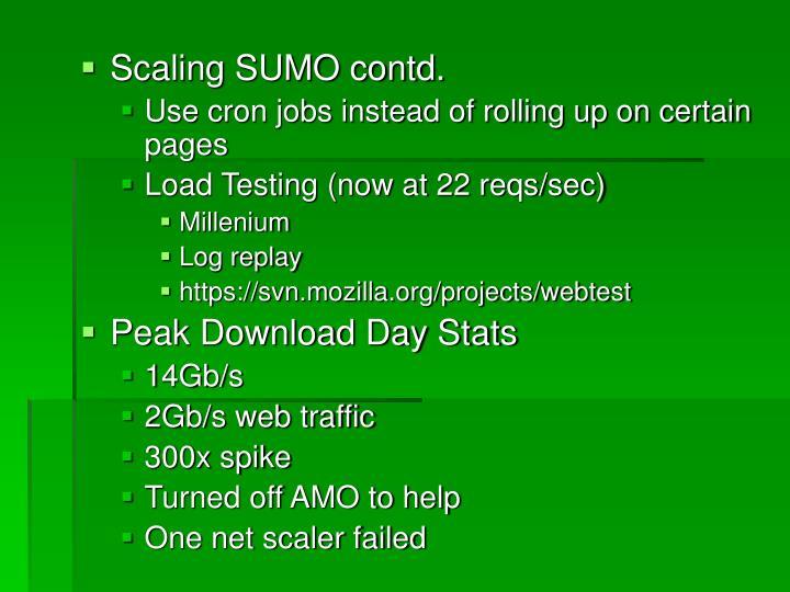 Scaling SUMO contd.