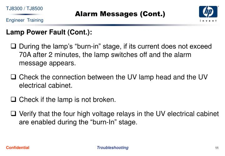 Alarm Messages (Cont.)