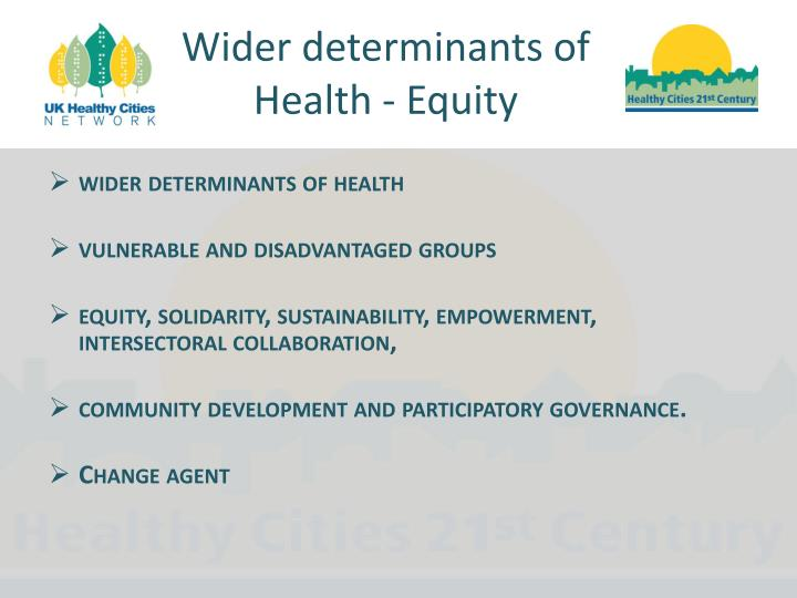 Wider determinants of Health - Equity