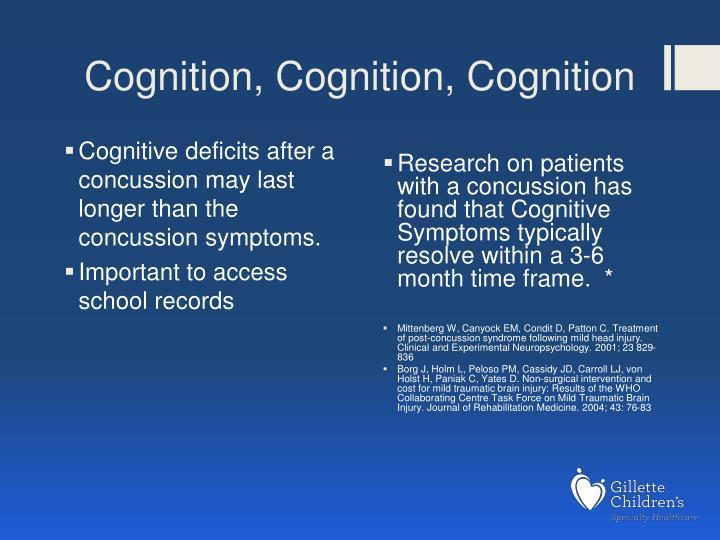 Cognition, Cognition, Cognition