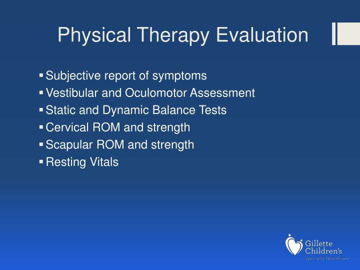 Physical Therapy Evaluation