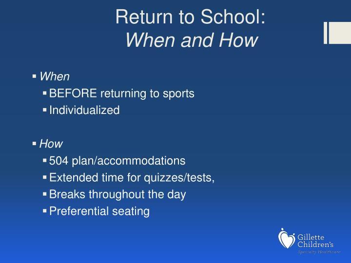 Return to School: