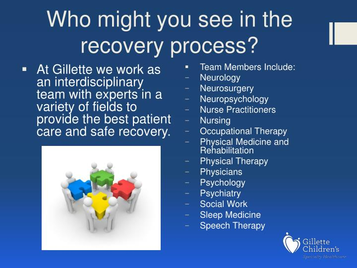 Who might you see in the recovery process?