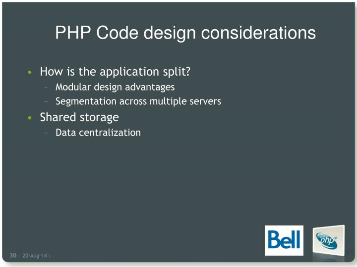 PHP Code design considerations