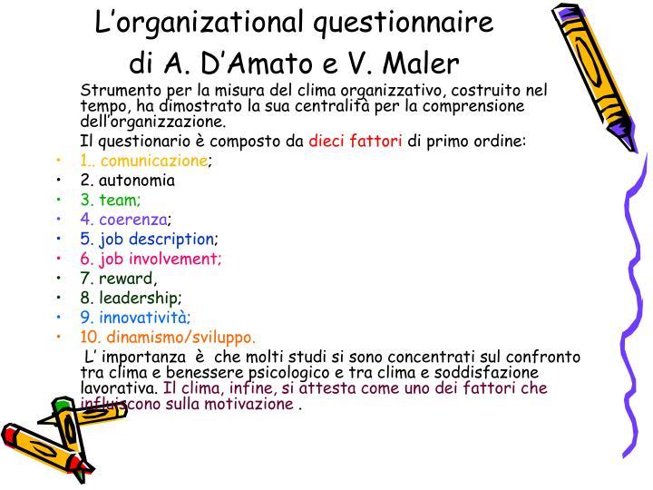 L'organizational questionnaire