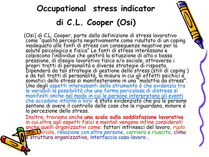 Occupational  stress indicator