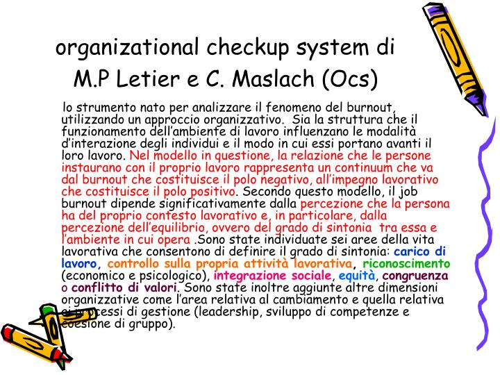 organizational checkup system di M.P Letier e C. Maslach (Ocs)