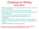 checking our writing description