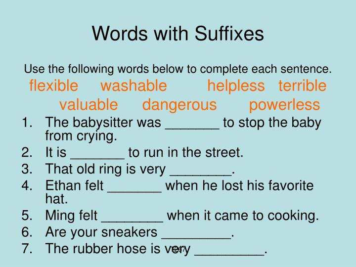 Words with Suffixes