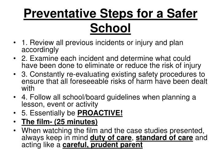 Preventative Steps for a Safer School